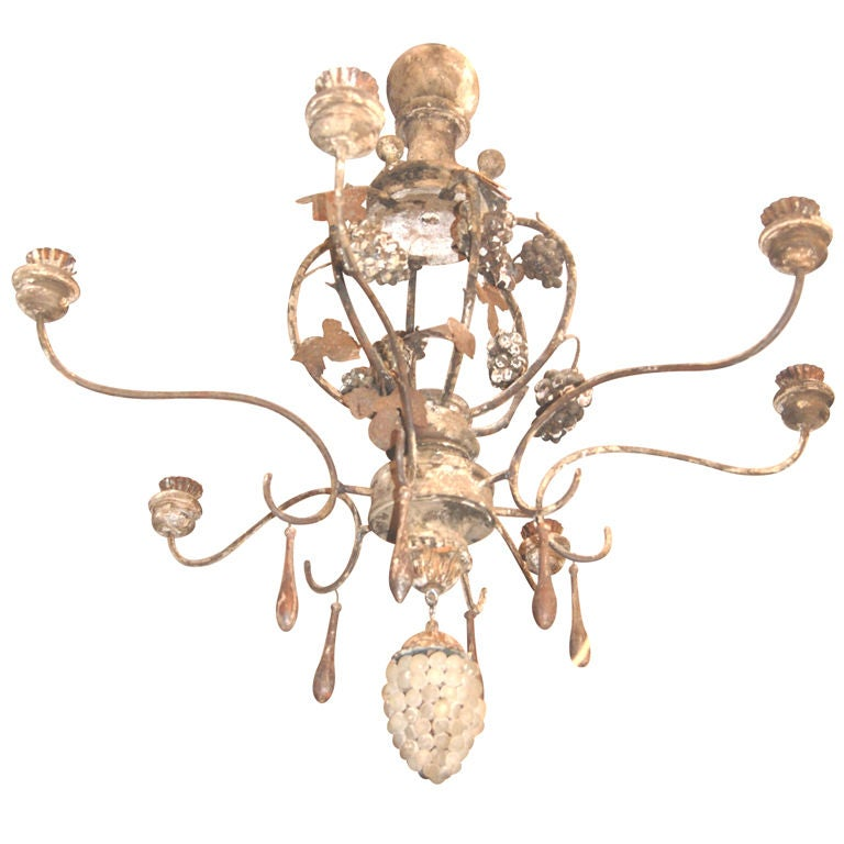 19th c. Wood and Iron Chandelier