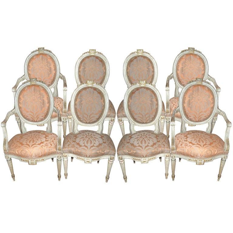 Beautiful Set of 8 19thc. Italian Chairs 1