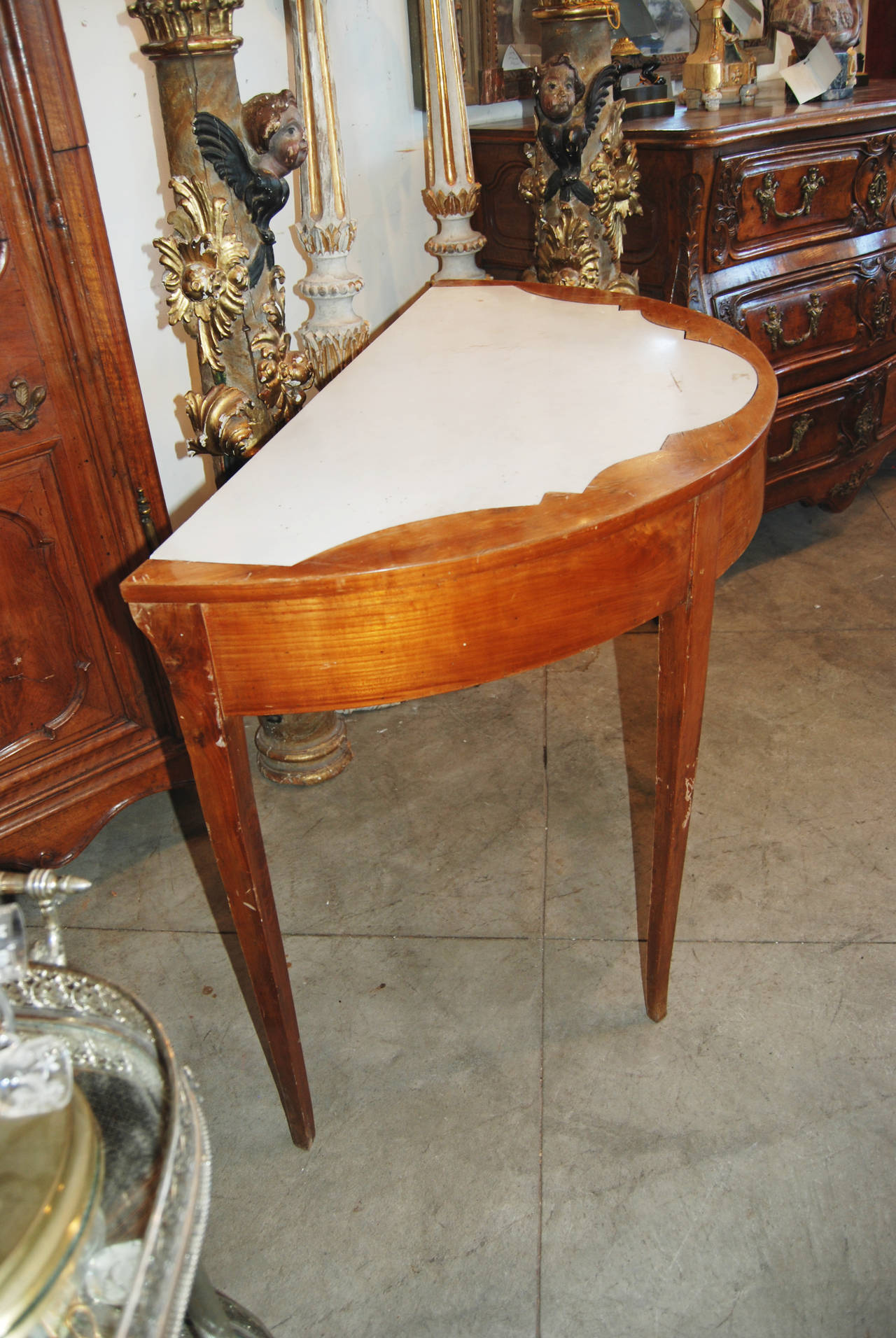 19th Century Italian Directoire Demilune Console In Good Condition For Sale In New Orleans, LA