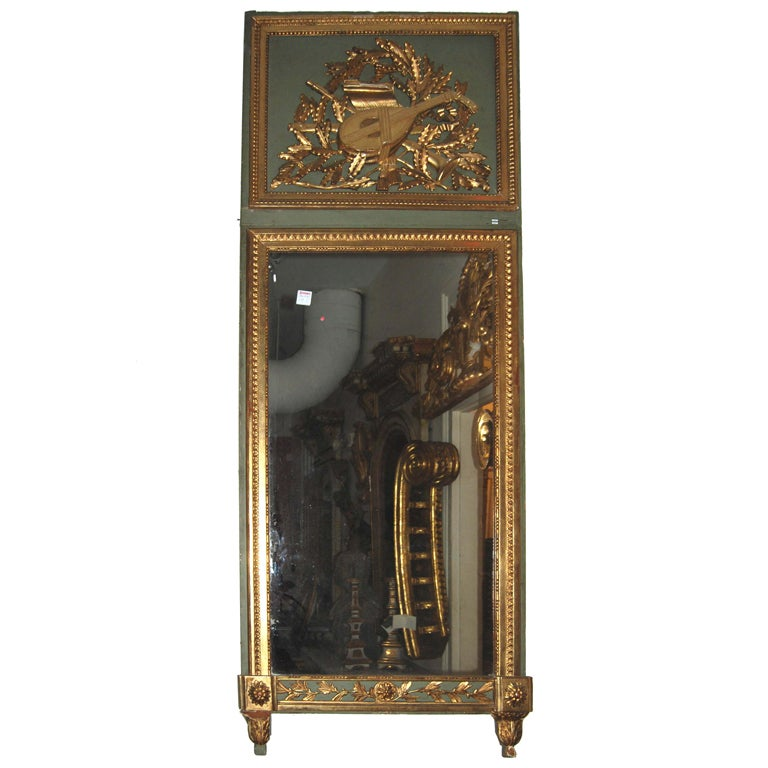 19th c. Carved and Gilded Trumeau Mirror