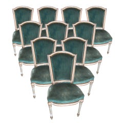 Set Of Ten Painted Dining Chairs