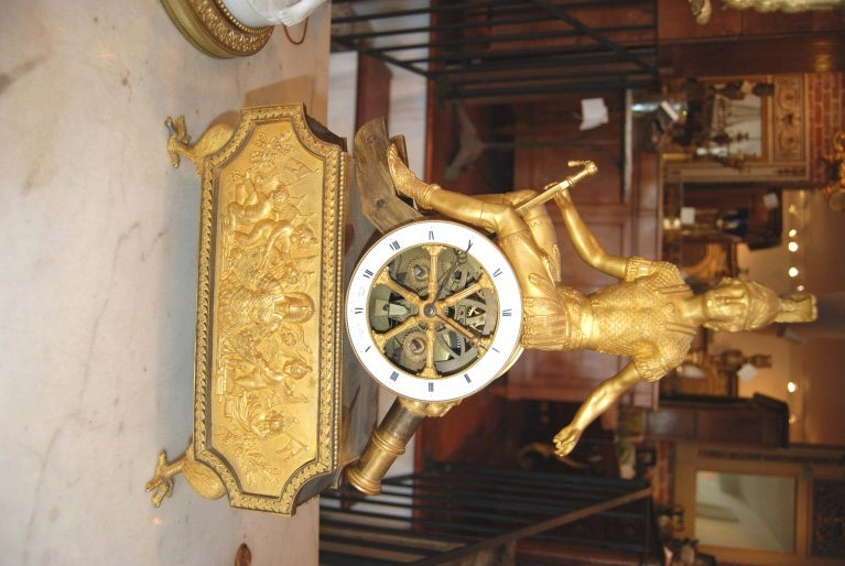 French Exceptional 19thc Empire Bronze Dore' Clock For Sale