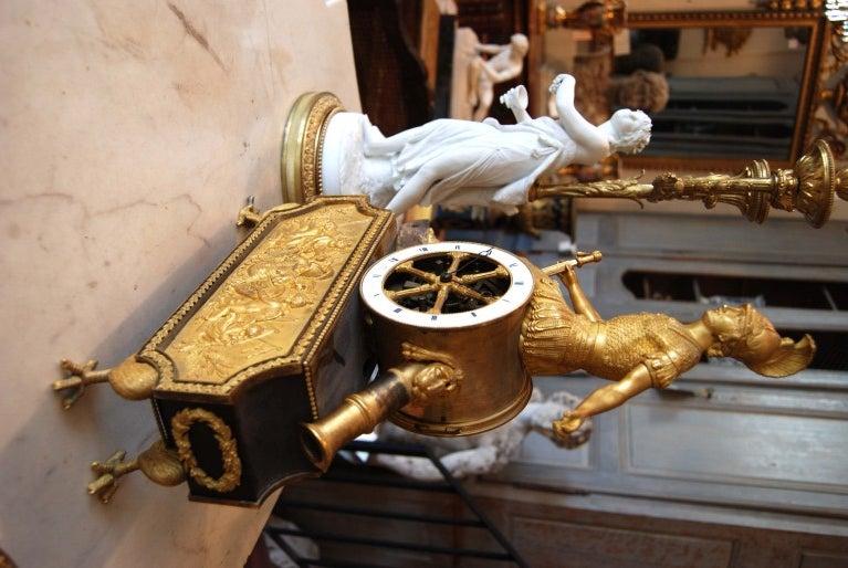 Exceptional 19thc Empire Bronze Dore' Clock For Sale 1