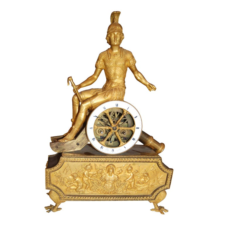 Exceptional 19thc Empire Bronze Dore' Clock