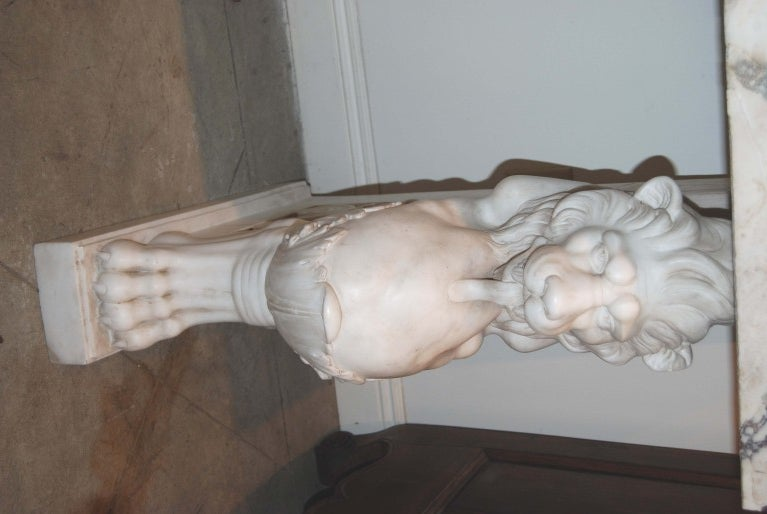 Beautifully Carved White Marble Console
