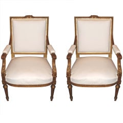 Pair 19thc. Gilded Armchairs