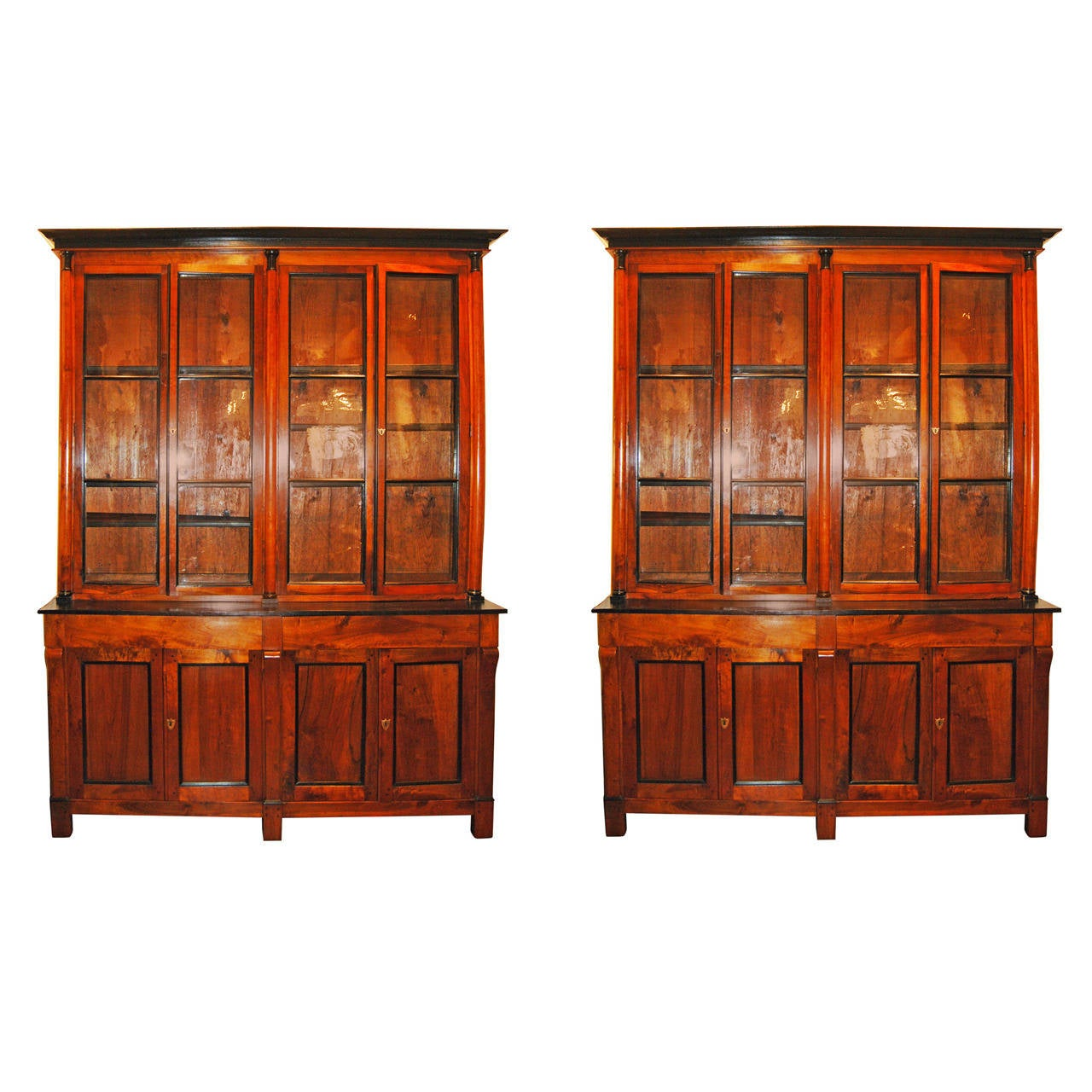 Pair 19thc walnut bibliotecques at 1stdibs for Empire antiques new orleans