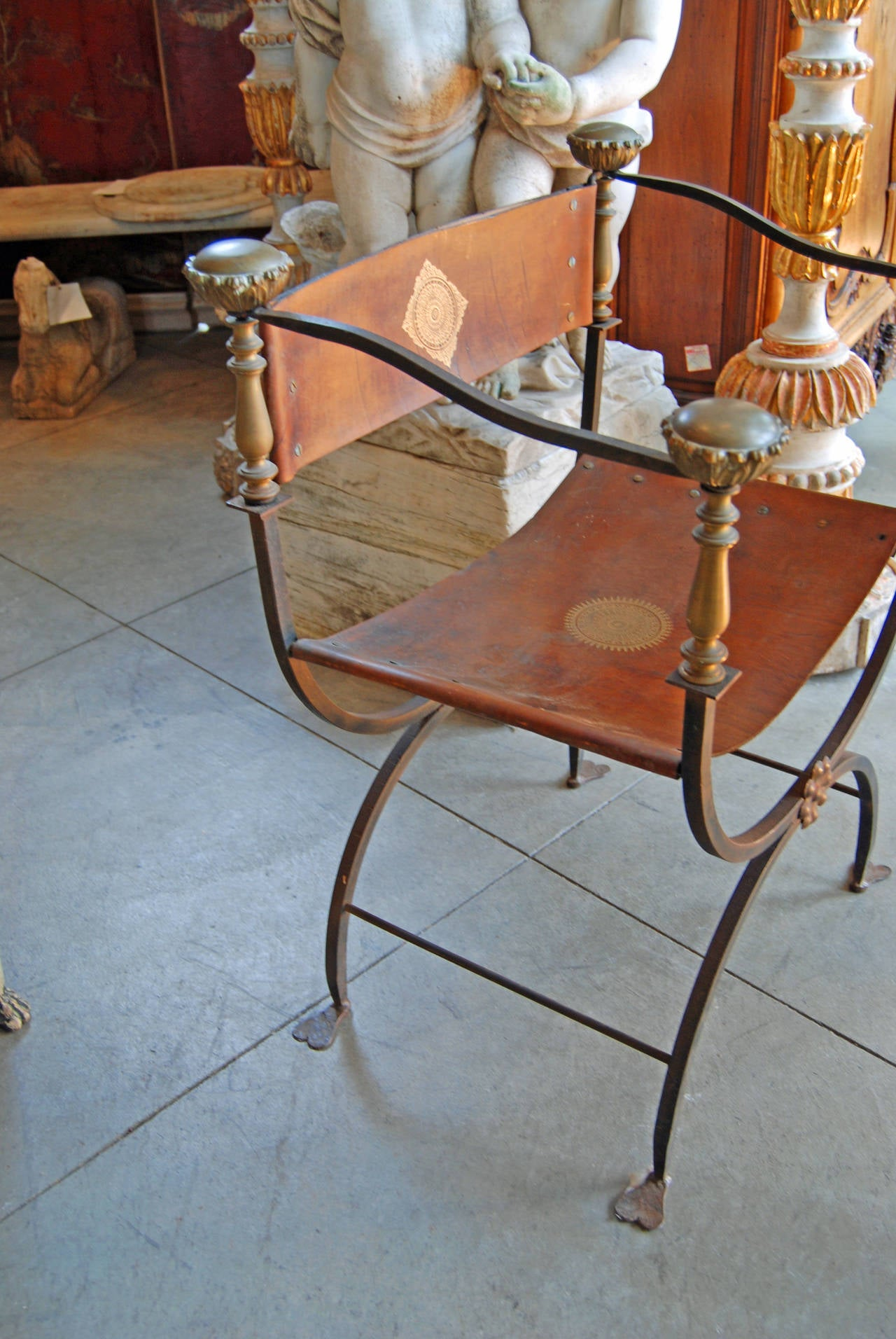 Amazing French Pair Of 19th Century Iron And Leather Campaign Chairs For Sale