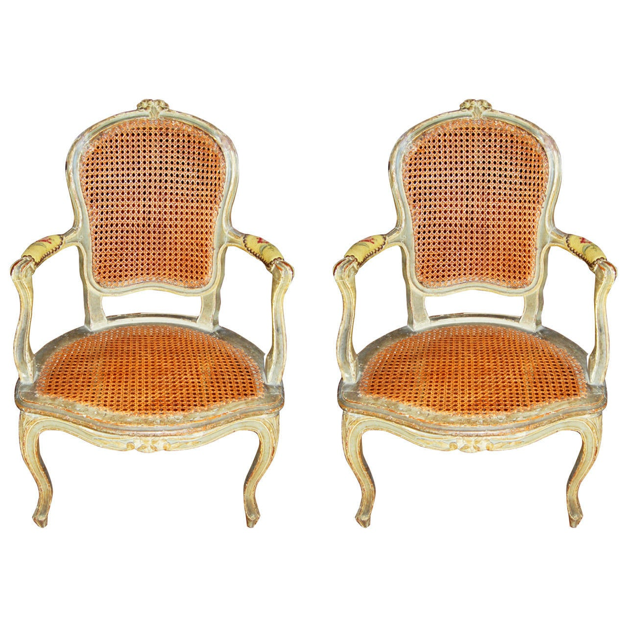 Pair 18th Century Louis XV Painted Armchairs