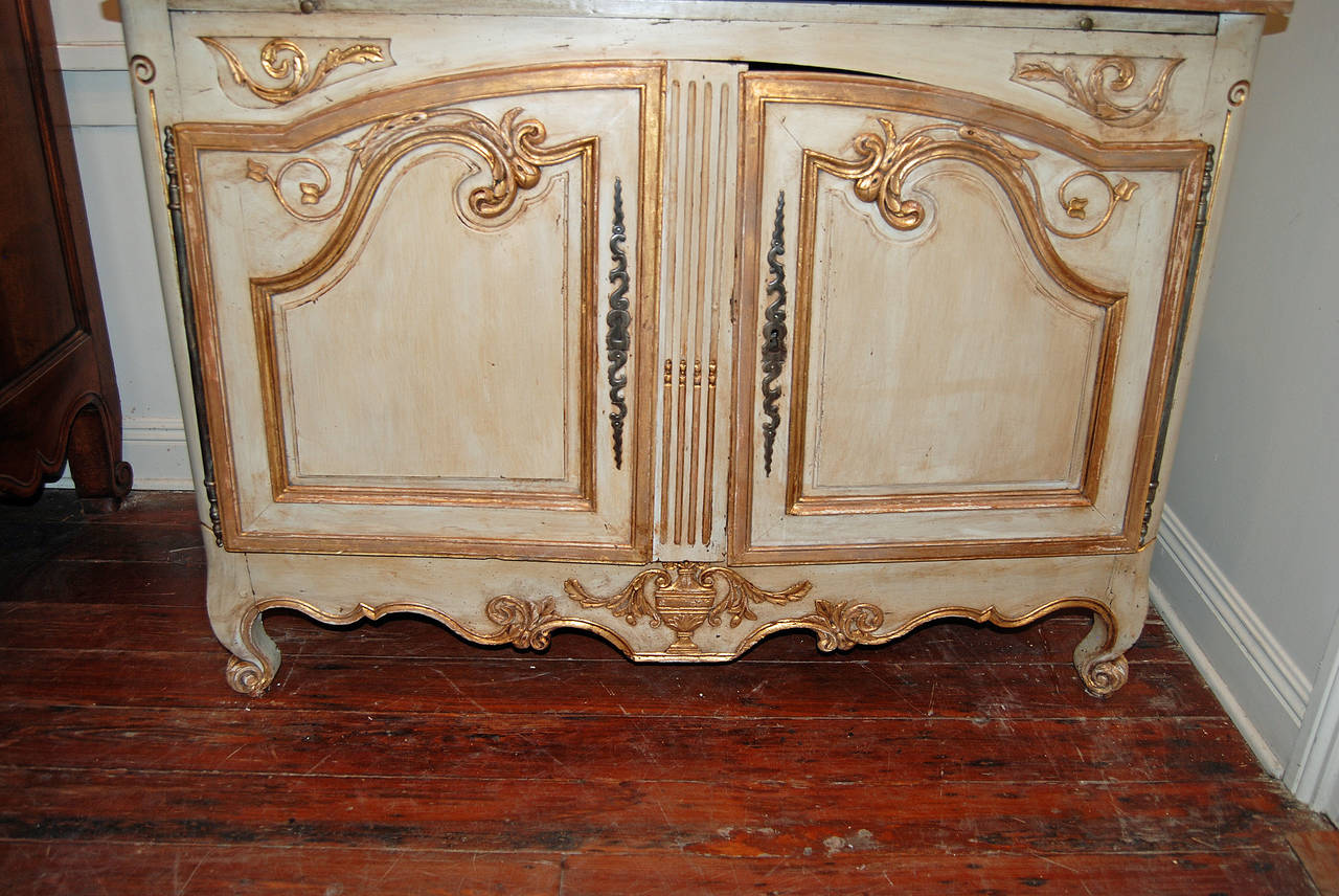 18th century walnut buffet deux corps with later painted decoration.