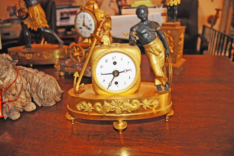 Period empire sauvage miniature clock at 1stdibs for Empire antiques new orleans
