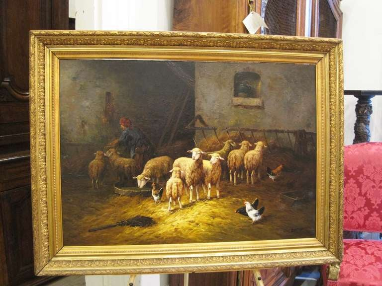 Serene Barn Scene with lambs and Chickens
