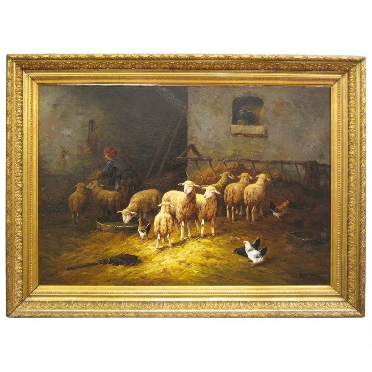 19thc Oil Painting Signed Lartigau For Sale