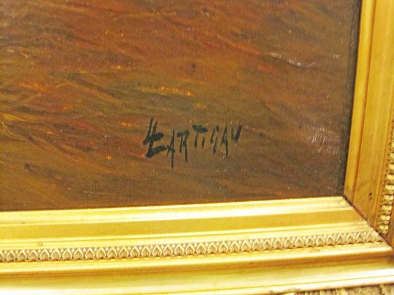 19thc Oil Painting Signed Lartigau In Good Condition For Sale In New Orleans, LA