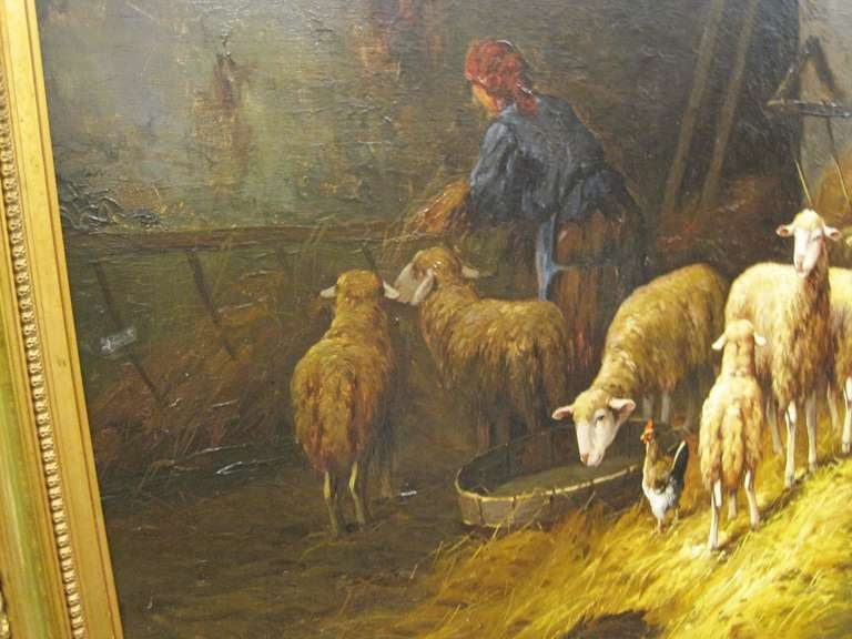19th Century 19thc Oil Painting Signed Lartigau For Sale