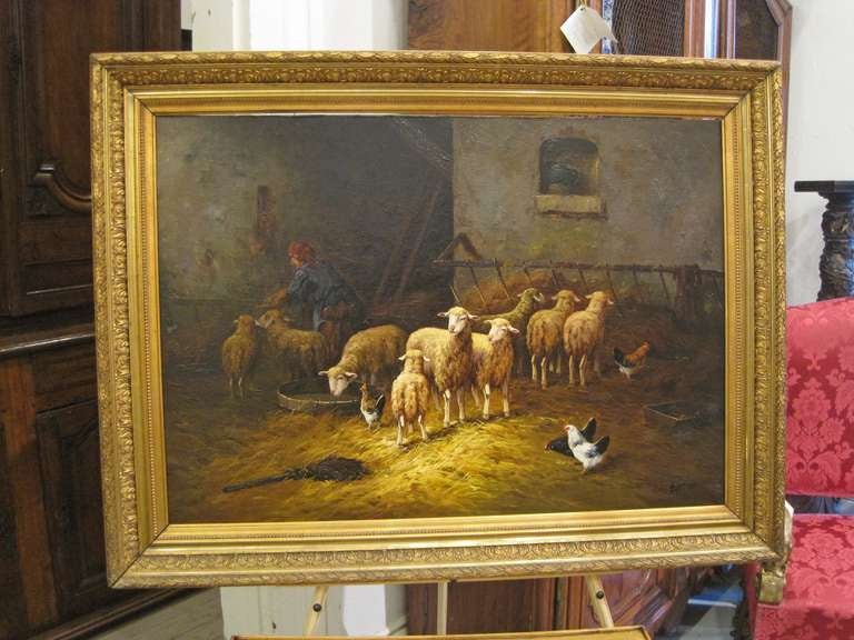 19thc Oil Painting Signed Lartigau For Sale 1