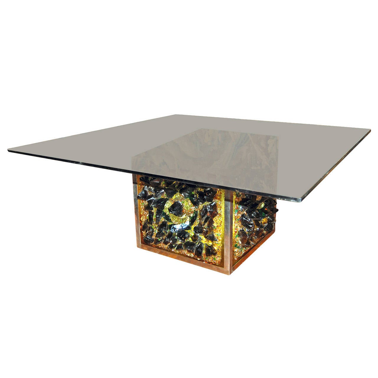 Mid-Century Dutch Illuminated Art Glass Coffee Table