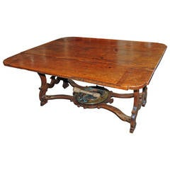 17th Century Walnut Tuscan Table with Original Brazier