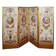 19th Century Directoire Painted Screen