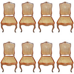 Set of 8 19thc Walnut Dining Chairs