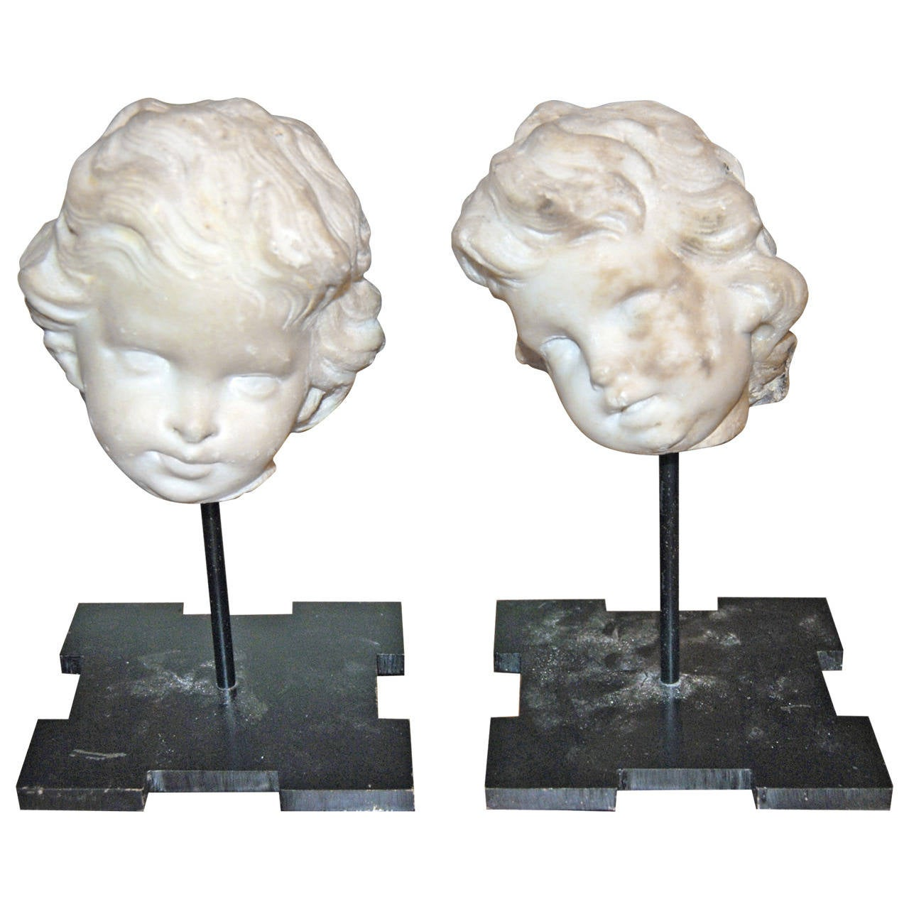Pair 18thc Marble Putti Busts