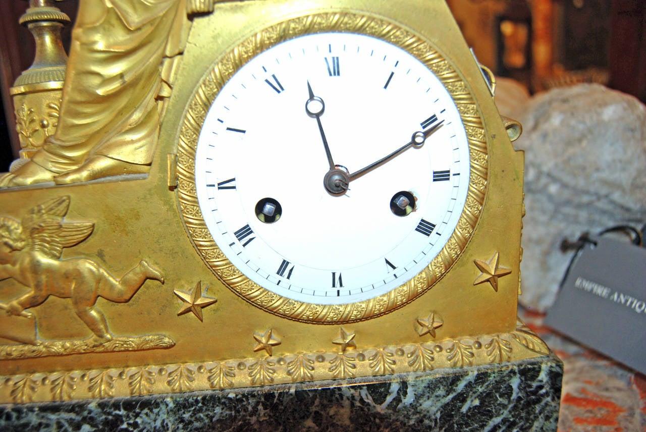 19th Century Bronze Doré Mantel Clock In Good Condition For Sale In New Orleans, LA