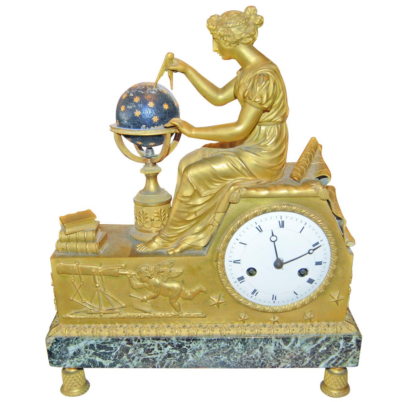 19th Century Bronze Doré Mantel Clock For Sale