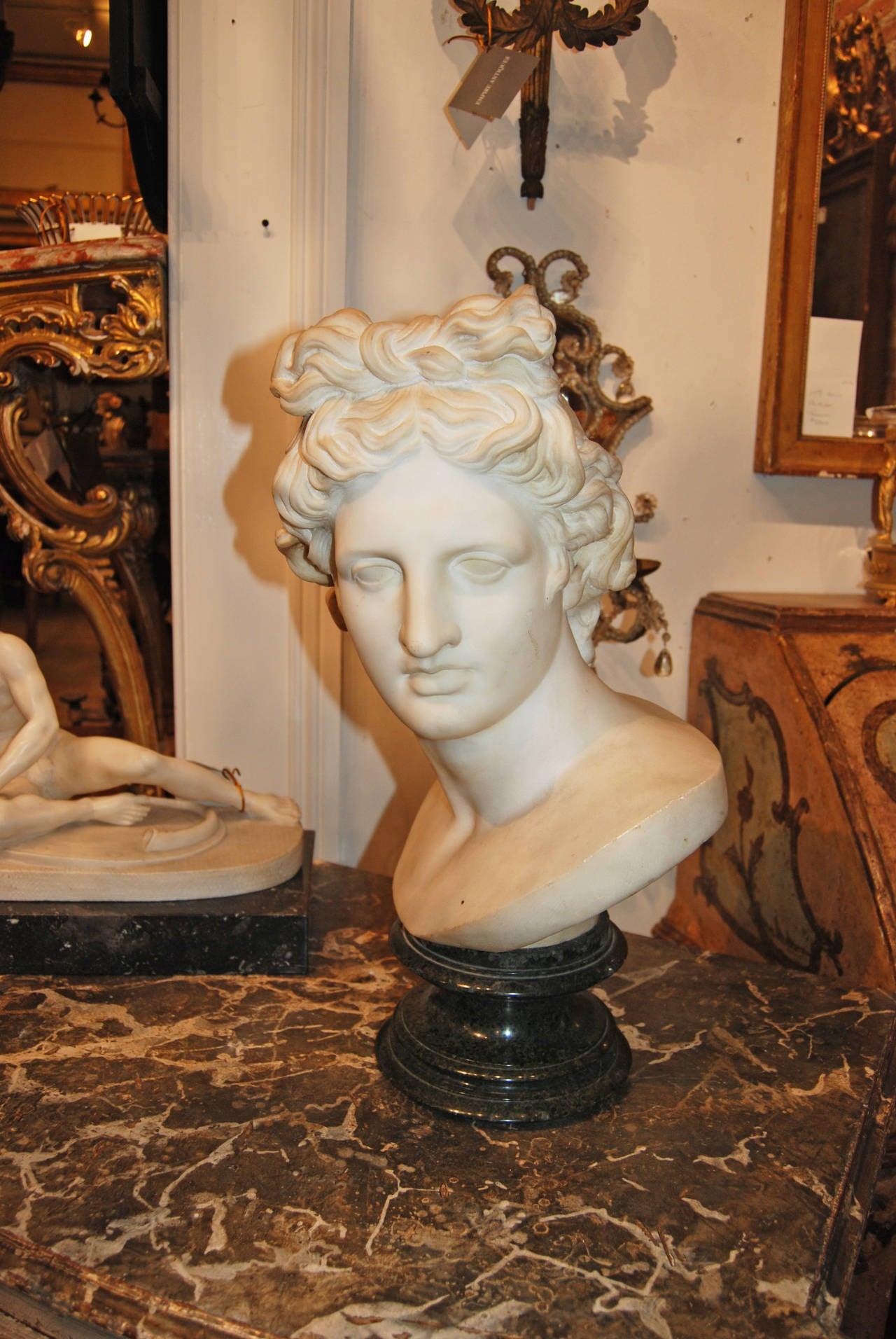 Beautiful 18th century White marble Buste of Apollo