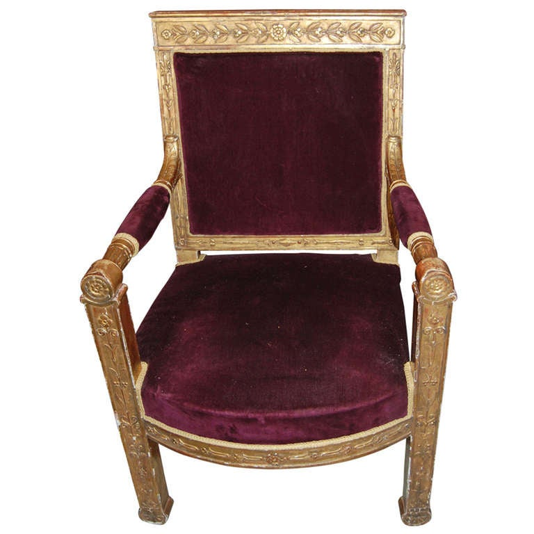 Period Empire Giltwood Armchair