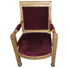 Period Empire Giltwood Armchair