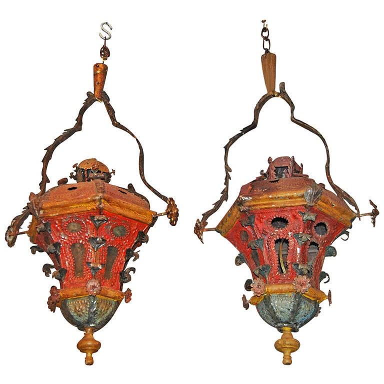 Pair of 19th Century Tole Lanterns
