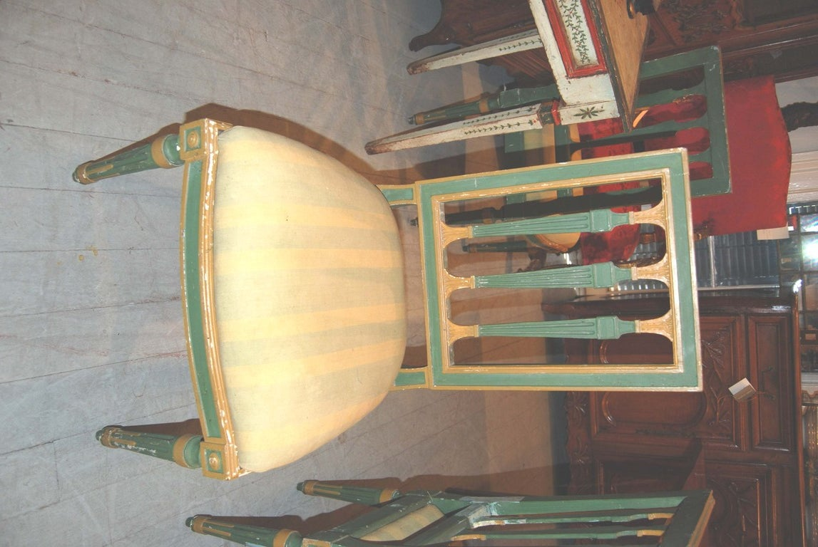 Set of Eight Painted Italian Directoire Dining Chairs 7