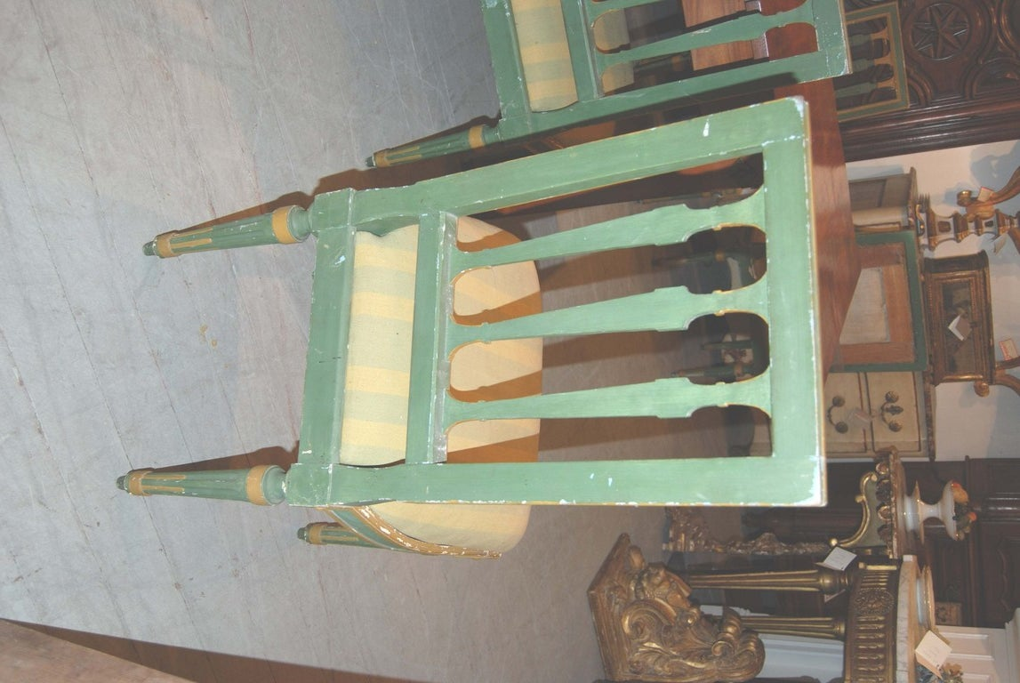 Set of Eight Painted Italian Directoire Dining Chairs 9