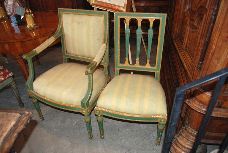 Set of Eight Painted Italian Directoire Dining Chairs 3