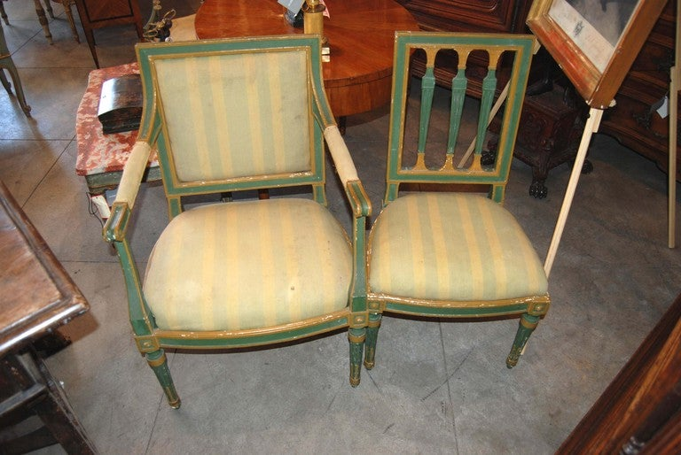 Set of Eight Painted Italian Directoire Dining Chairs 2