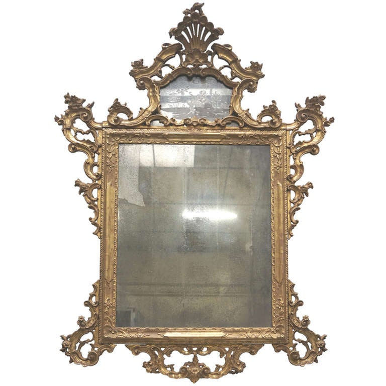 Venetian mirror with mercury glass at 1stdibs for Glass mirrors for walls