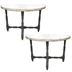 Pair of 19th Century Spanish Demilune Tables with Scalloped Aprons