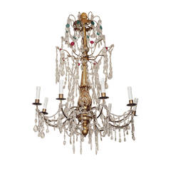 19th c Italian gilt wood And Crystal Eight Light Chandelier, electrified