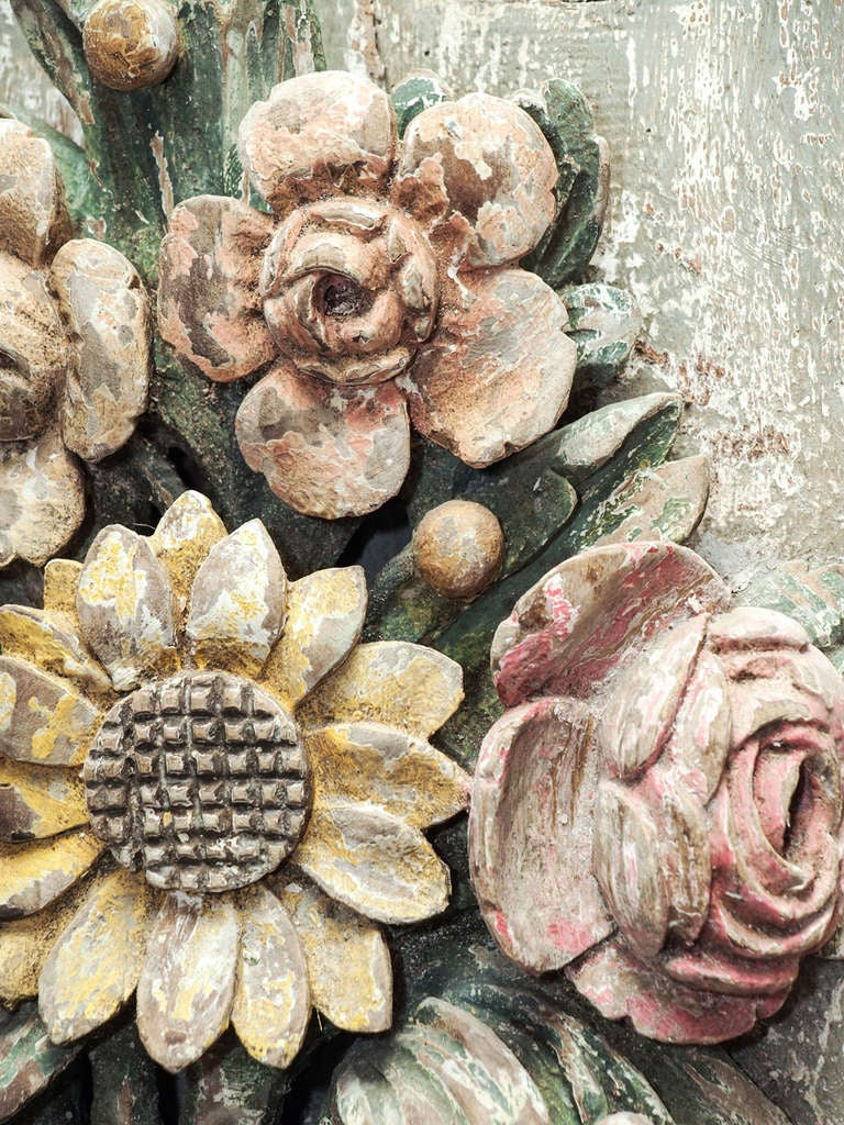 18th c Carved and painted four light wall sconce with ... on Wall Sconces That Hold Flowers id=44885