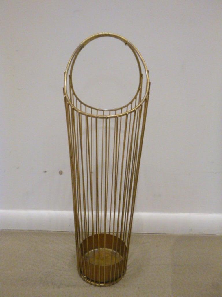 Mid-Century Brass Wire Umbrella Stand 3