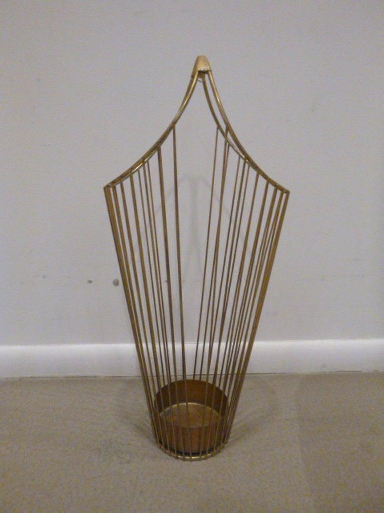 Mid-Century Brass Wire Umbrella Stand 2