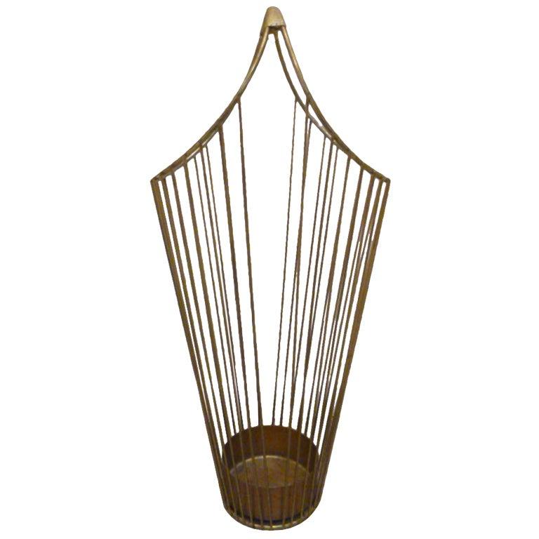 Mid-Century Brass Wire Umbrella Stand 1
