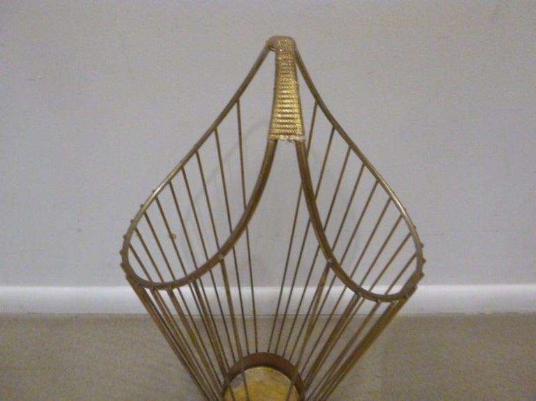 Mid-Century Brass Wire Umbrella Stand 4