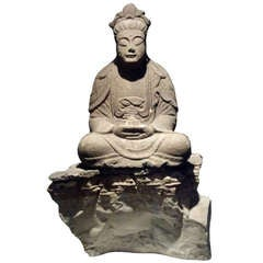 Large Early Carved Stone Buddha