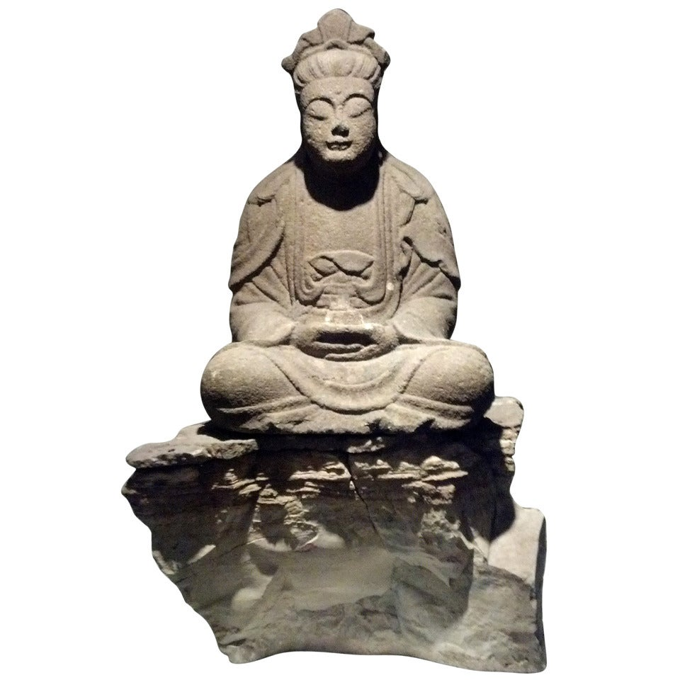 Large Early Carved Stone Buddha