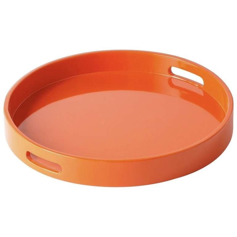 Round Lacquer Tray With Handles Multiple Colors Available