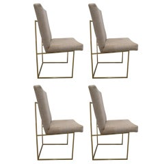 Set of 4 Brass Dining Chairs by Milo Baughman