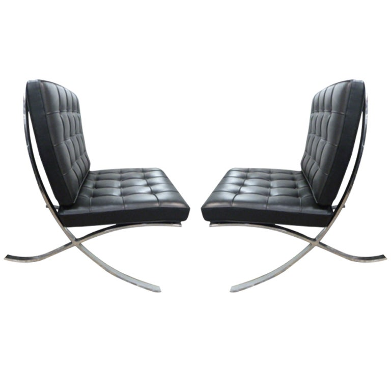 pair of vintage barcelona chairs by knoll at 1stdibs