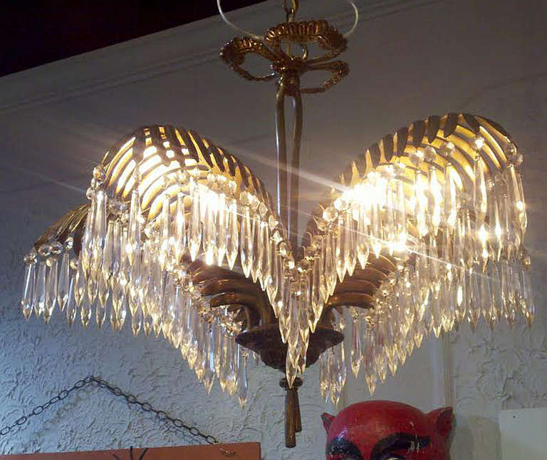Pair Of Bronze Five Light Chandeliers Late 19th Early 20th Century The Stem