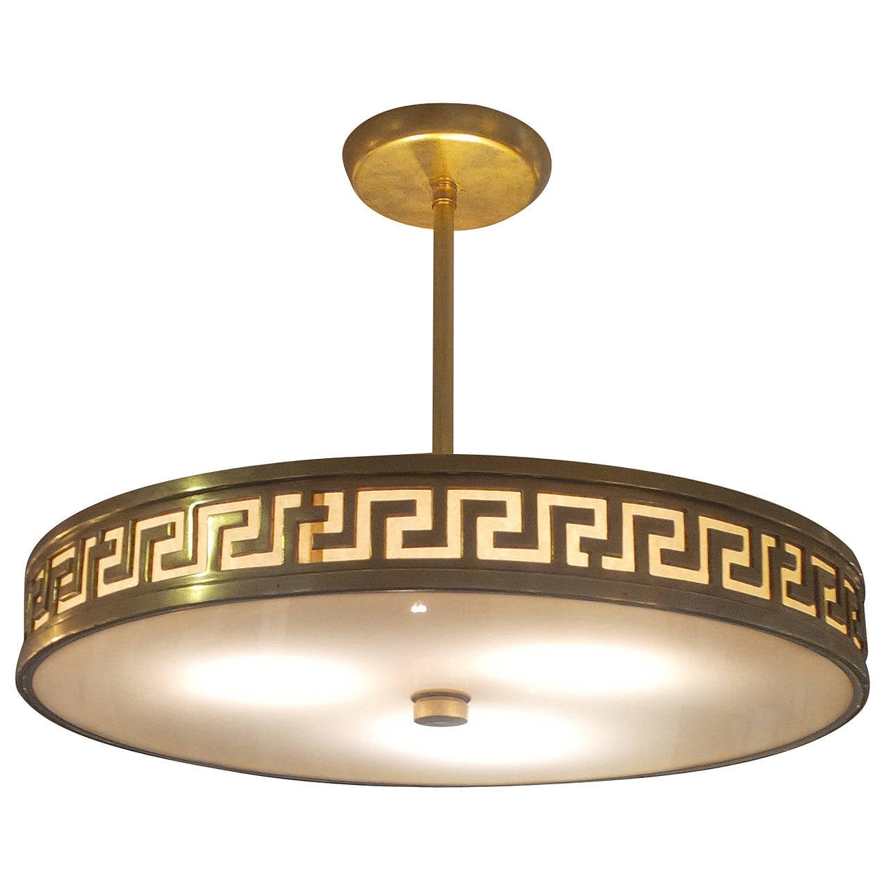 French Greek Key Bronze Light Fixture Available As